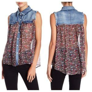 Papillon Denim and Chiffon Floral Top